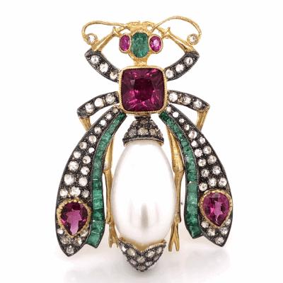 "Closeup photo of 925 Sterling & 18K Beetle Brooch 2.50tcw Pink Tourmaline, 1.90tcw Diamonds & .83tcw Emeralds 1 5/8"" Tall"