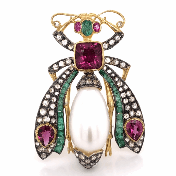 "Closeup photo of 925 Sterling & 18K Beetle Brooch 2.50tcw Pink Tourmaline, 1.90tcw Diamonds & .83tcw Emeralds 1 5/8"" Tall"