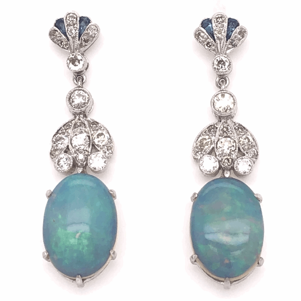"18K White Gold 7.49tcw White Opal & .89tcw Diamond Drop Earrings 1.5"" Tall"