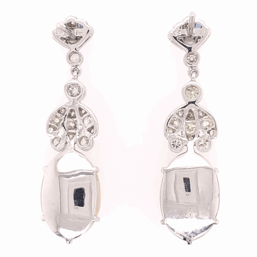 "Image 2 for 18K White Gold 7.49tcw White Opal & .89tcw Diamond Drop Earrings 1.5"" Tall"
