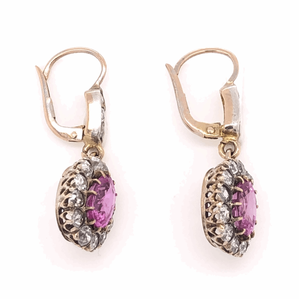 """Image 2 for 14K Yellow Gold Victorian 3.46tcw Oval Pink Sapphire & 1.20tcw Diamonds Earrings, 1.25"""" Tall"""