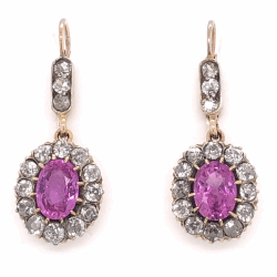 "Closeup photo of 14K Yellow Gold Victorian 3.46tcw Oval Pink Sapphire & 1.20tcw Diamonds Earrings, 1.25"" Tall"