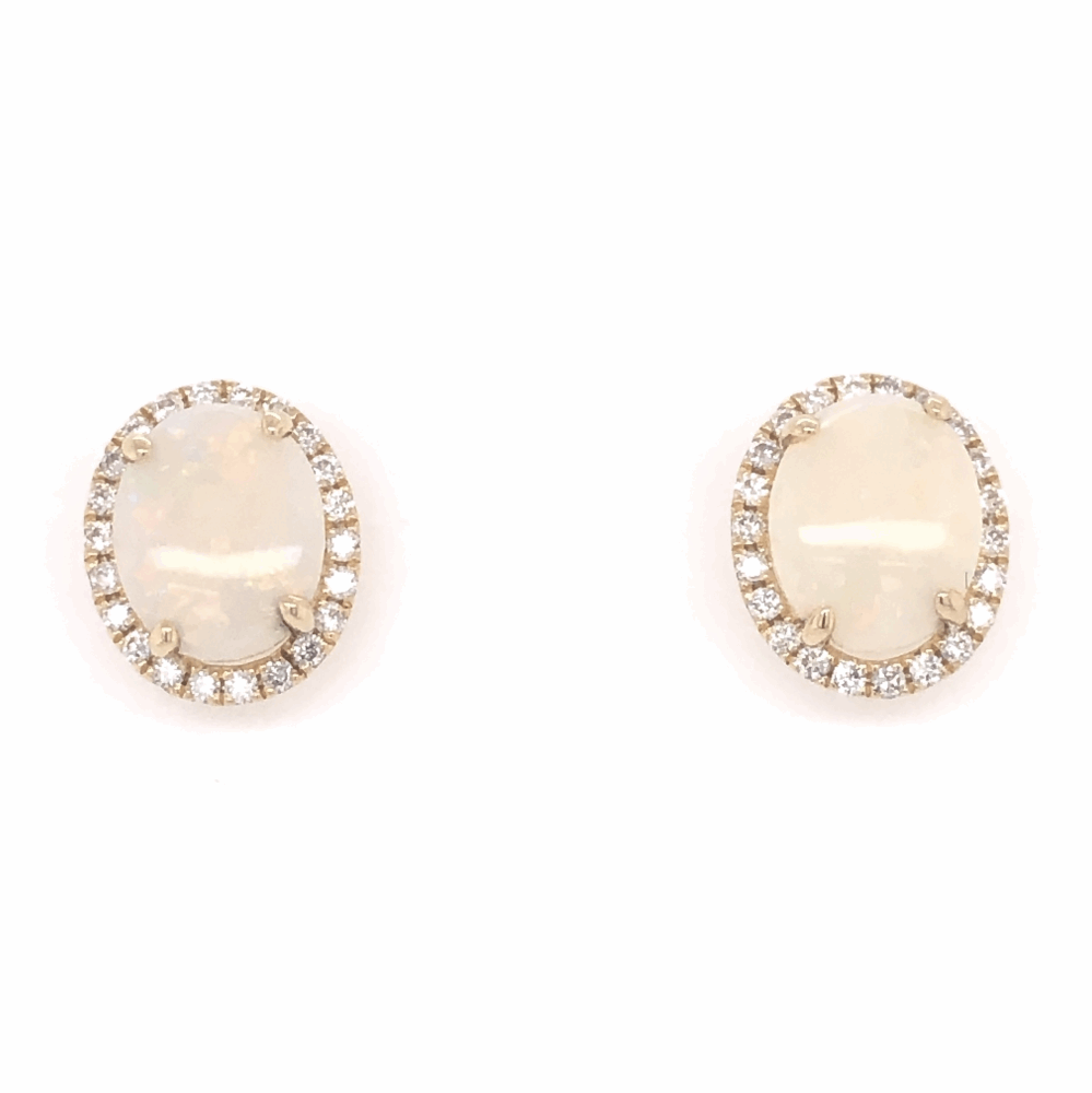 Image 2 for 14K Yellow Gold 3.69tcw Opal Stud Earrings with .43tcw Diamonds 13x11mm
