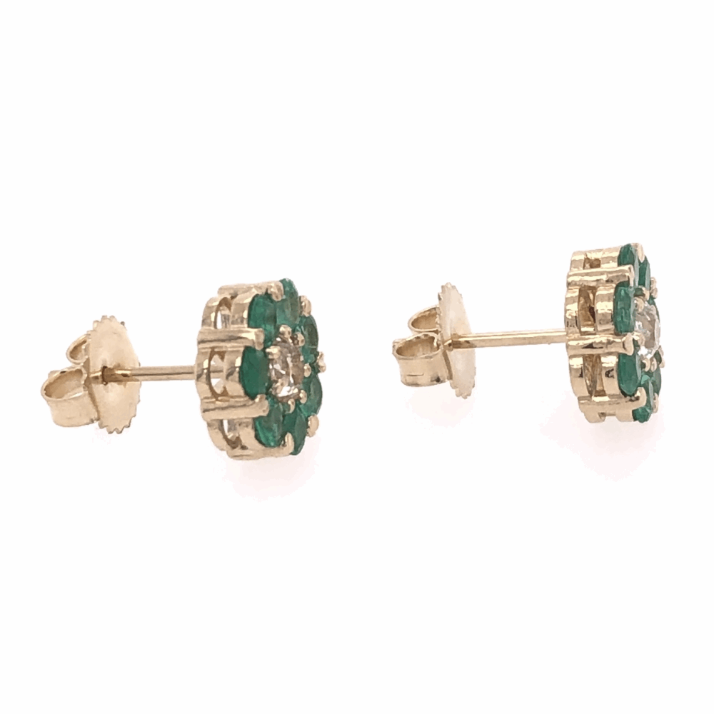 "Image 2 for 14K Yellow Gold Cluster Stud Earrings 1.80tcw Round Emeralds & .50tcw Diamonds .5"" Diameter"