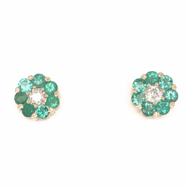 "Closeup photo of 14K Yellow Gold Cluster Stud Earrings 1.80tcw Round Emeralds & .50tcw Diamonds .5"" Diameter"
