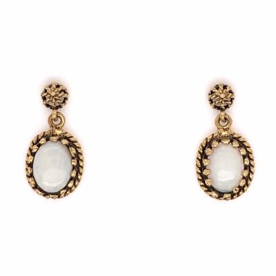 """Closeup photo of 14K Yellow Gold Opal Drop Earrings  1.50tcw 2.4g, .75"""" tall"""