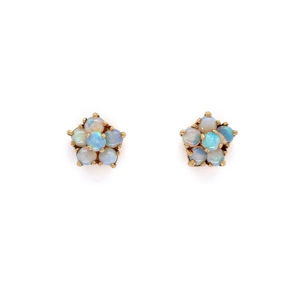 "Closeup photo of 14K Yellow Gold Opal Cluster Earrings, 12 Opal are 1.10tcw 2.5g, 3/8"" Diameter"