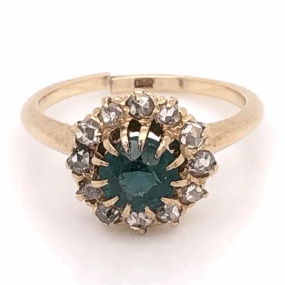 Closeup photo of 14K Yellow Gold Victorian Green Stone & .40tcw Diamond Ring 2.8g, s5.25
