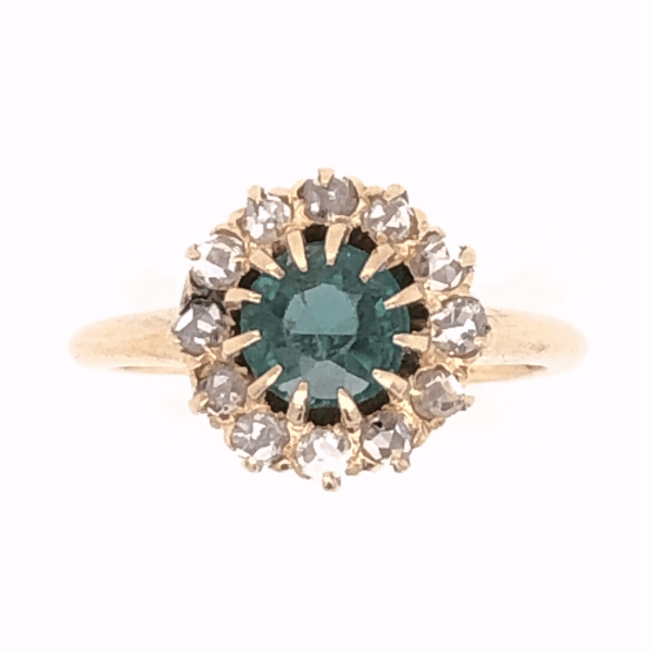 Closeup photo of 14K Yellow Gold Victorian Green Stone & .40tcw Diamond Ring 2.8g, s5.25
