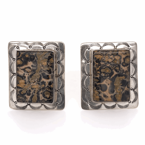 Closeup photo of 925 Sterling Vintage Native Rectangular Agate Earrings 19.6g, 1 1/3x 1 1/8""