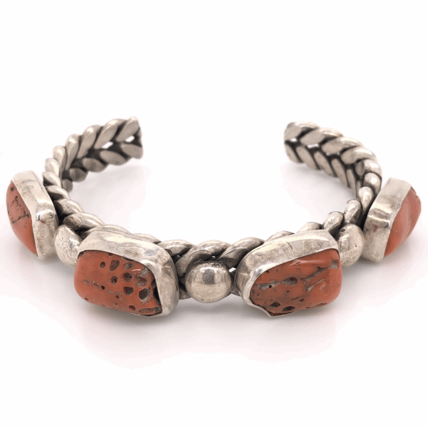 Closeup photo of 925 Sterling Vintage Mens Native NAVAJO 4 Coral Nuggett Cuff MGD 94.2g, 8.5""