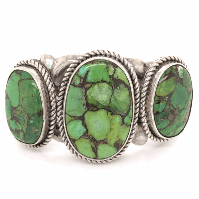 "Closeup photo of 925 Sterling Vintage Native 3 Green Turquoise Cuff 84.1g, 6.25"" Diameter"