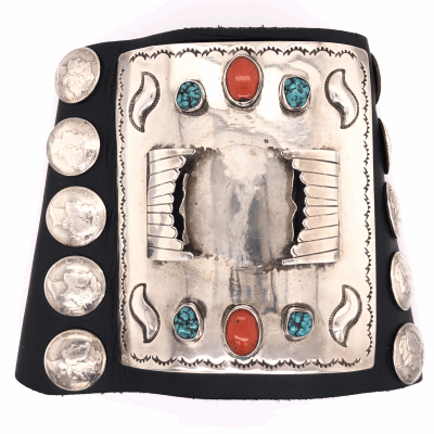 "Closeup photo of 925 Sterling & Leather Vintage Mens Native Cuff, Silver Dimes, Coral & Turquoise 224.5g, 8.5"" Wrist"