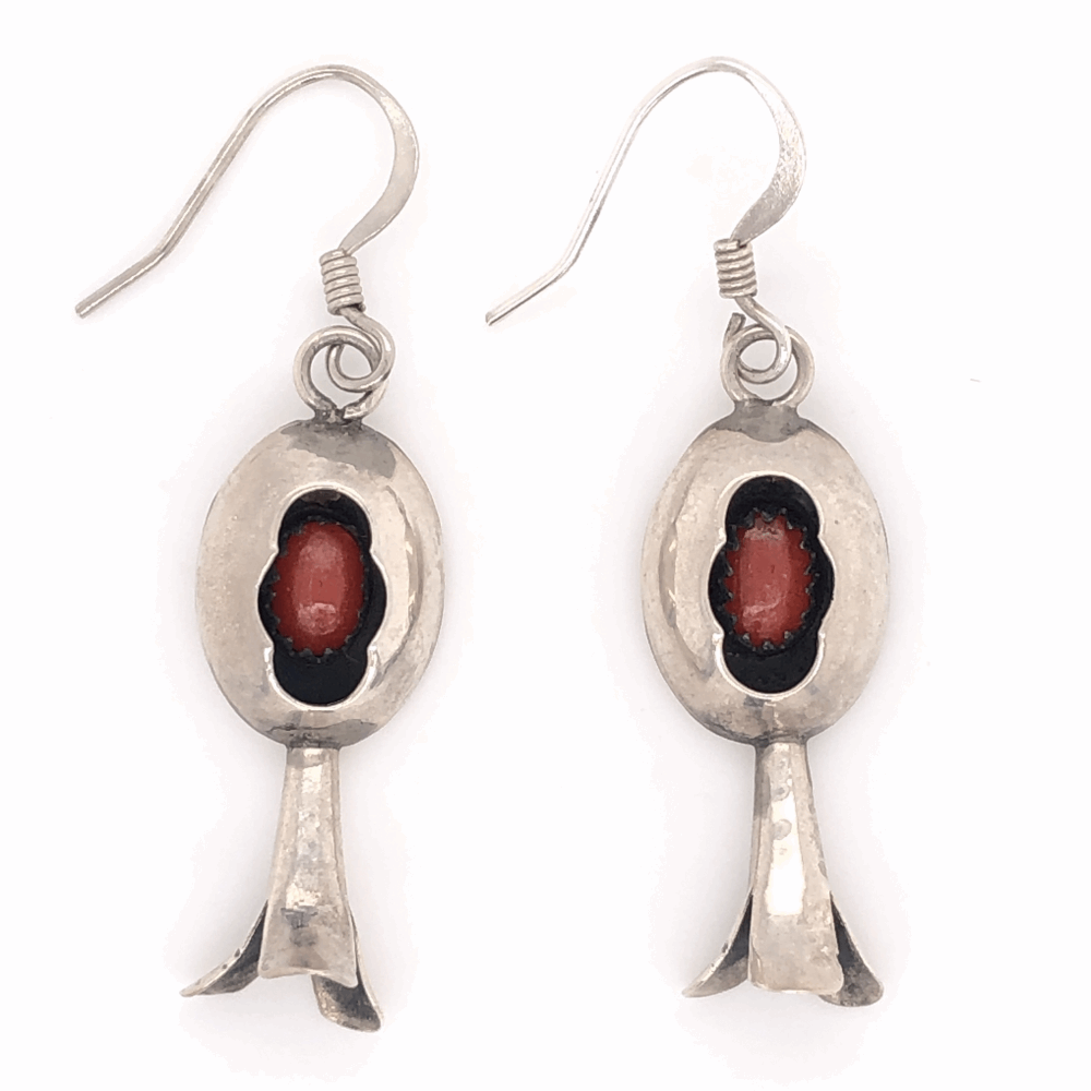 """925 Sterling Vintage Native Shadow Box Coral Earrings 3.1g, 1.75"""" Tall"""