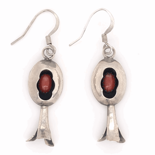 """Closeup photo of 925 Sterling Vintage Native Shadow Box Coral Earrings 3.1g, 1.75"""" Tall"""