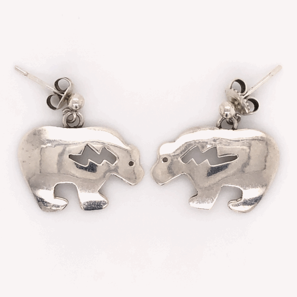 Closeup photo of 925 Sterling Vintage Native HOPI Bear Earrings 2.5g Post and Friction