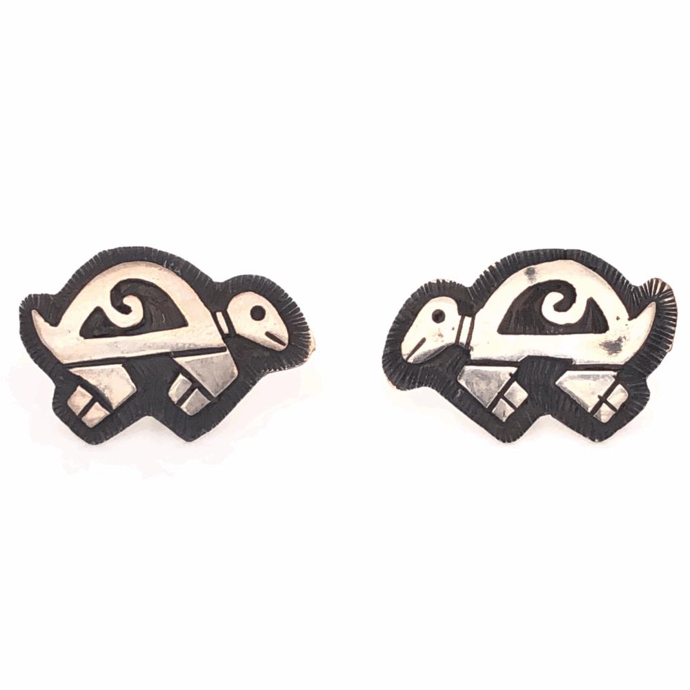 925 Sterling Vintage Native Turtle Stud Earrings 3.0g, No Backs