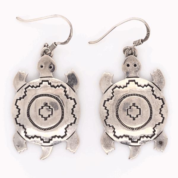 """Closeup photo of 925 Sterling Vintage Native Drop Turtle Earrings EL TOM 5.3g, 1.75"""" Tall"""