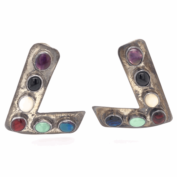 Closeup photo of 925 Sterling Vintage Native Pair of L Shaped Brooches Multi Gemstones 22.7g