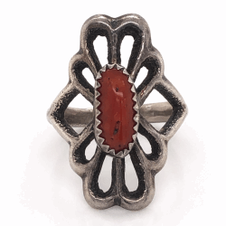 """Closeup photo of 925 Sterling Vintage Native Sand Cast Coral Ring Stamped L, 6.6g, s7.5, 1"""" Wide"""