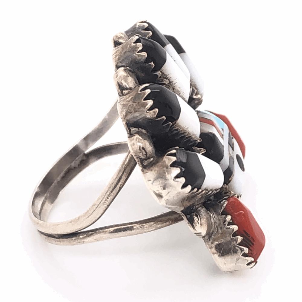 Image 2 for 925 Sterling Vintage Native HOPI Inlay Headress Ring