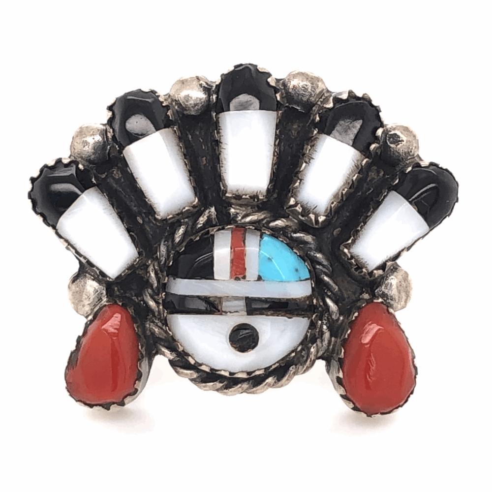 925 Sterling Vintage Native HOPI Inlay Headress Ring