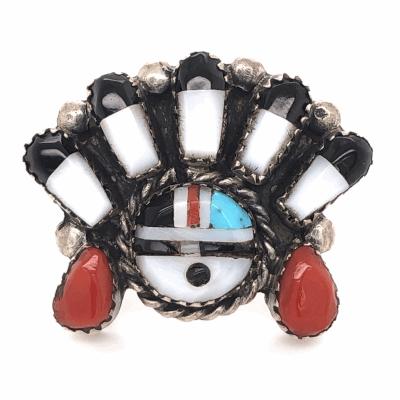 "Closeup photo of 925 Sterling Vintage Native HOPI Inlay Headress Ring 8.7g, s7.5, 1x1.25"""