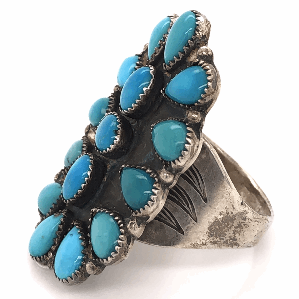 Image 2 for 925 Sterling Vintage Native Mens Large Petti Point Ring
