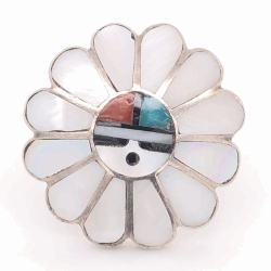 Closeup photo of 925 Sterling Vintage Native HOPI Headdress Inlay Ring