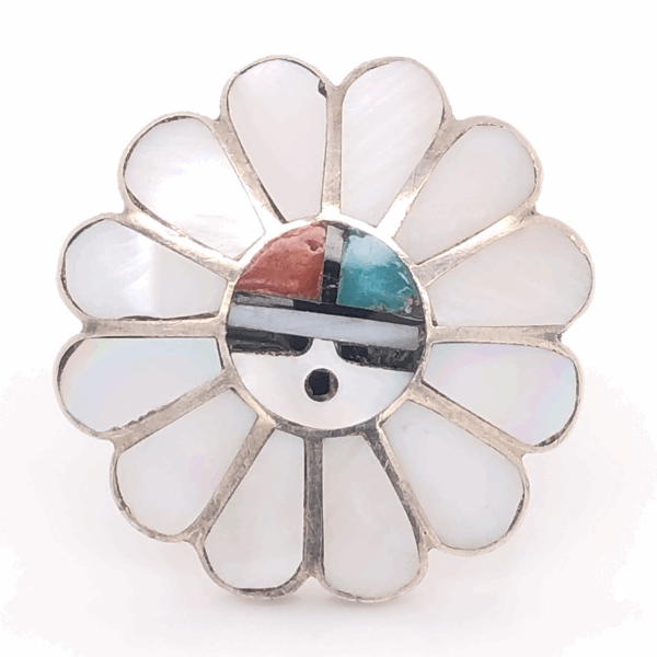 "Closeup photo of 925 Sterling Vintage Native HOPI Headdress Inlay Ring 7.1g, s6.5, 1"" Diameter"