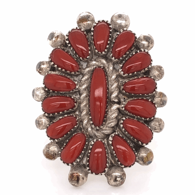 """Closeup photo of 925 Sterling Vintage Native Old Pawn Coral Peti Point Ring 8.9g, s7.5 1-1/3"""" Wide"""