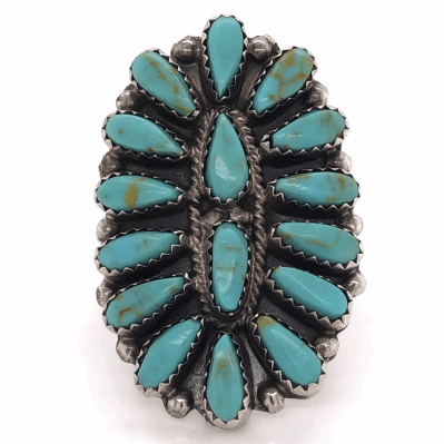 """Closeup photo of 925 Sterling Vintage Native ZUNI Peti Point Turquoise Ring P. JONES 9.2g, s8, 1-2/3"""" Wide"""