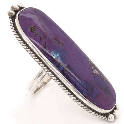 """Closeup photo of 925 Sterling Vintage Native Long Purple Stone Ring signed, A F, 13.3g, s8, 2"""" Wide"""