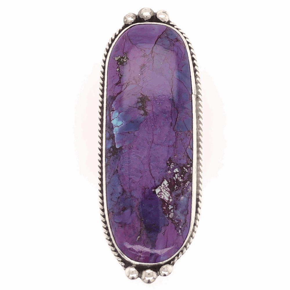 Image 2 for 925 Sterling Vintage Native Long Purple Stone Ring