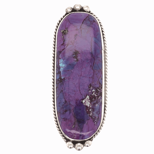 "Closeup photo of 925 Sterling Vintage Native Long Purple Stone Ring signed, A F, 13.3g, s8, 2"" Wide"