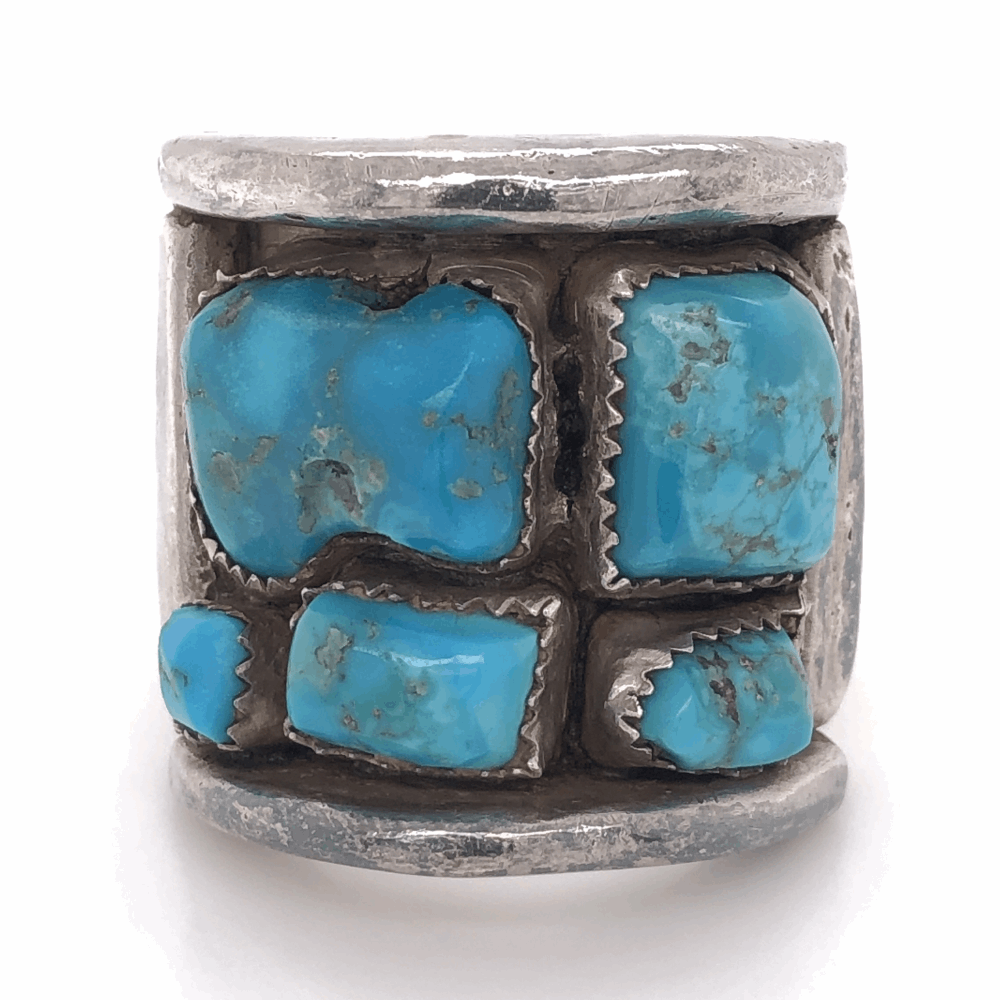 """925 Sterling Vintage Native Mens Old Pawn Turquoise Cluster Ring 33.4g, s15, 1.25"""" Wide"""