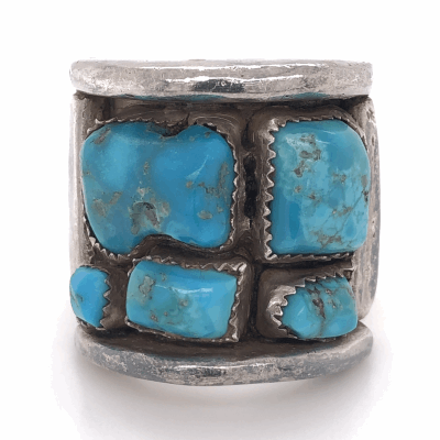 """Closeup photo of 925 Sterling Vintage Native Mens Old Pawn Turquoise Cluster Ring 33.4g, s15, 1.25"""" Wide"""