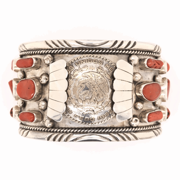 "Closeup photo of 925 Sterling Vintage Native Mens Large Watch Cuff with Coral OPHIE B JOE 202.9g, 2"" Wide"