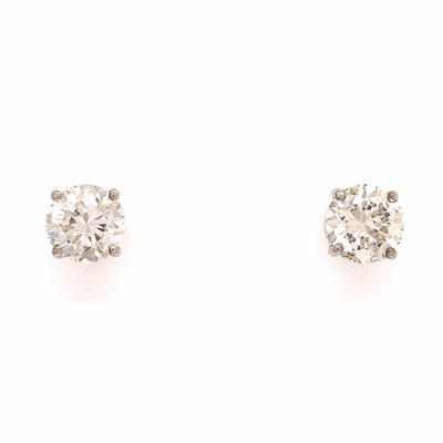 Closeup photo of 3.14tcw Stud Diamond Earrings EGL USA