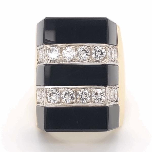 Closeup photo of 18K Yellow Gold Onyx & 2 Row Diamond Ring 1.40tcw 15.6g, s6 c1960's