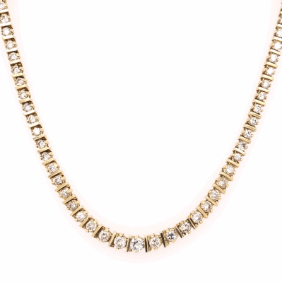 "Closeup photo of 14K Yellow Gold Diamond Riviera Necklace 102 Diamonds are 7.00tcw 33.5g, 15"" Long"