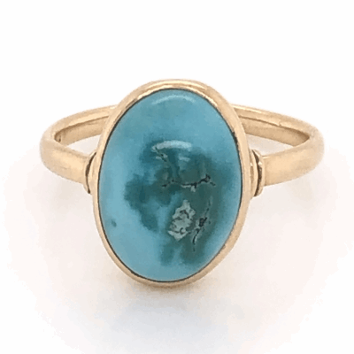 Closeup photo of 14K Yellow Gold Vintage Oval Turquoise Cabochon Ring, 2.15g, s6