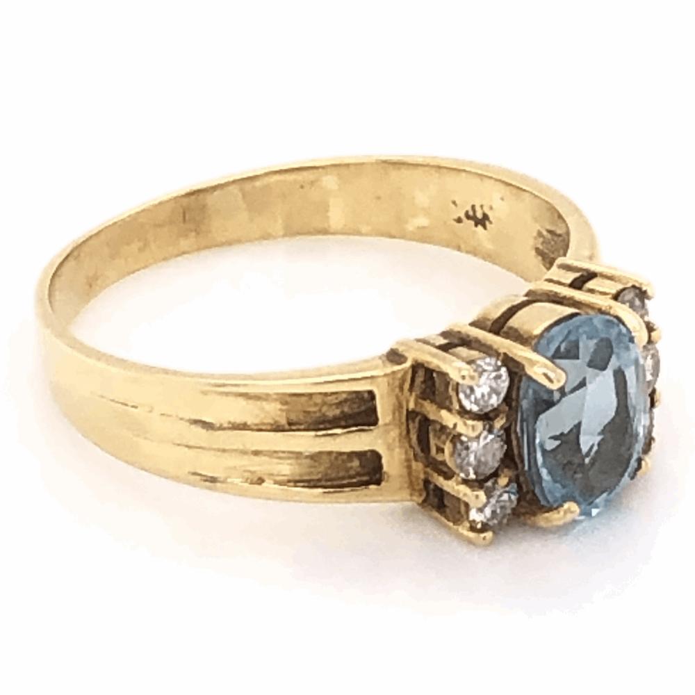 Image 2 for 14K Yellow Gold .35ct Oval Aquamarine & .10tcw Diamond Ring 2.8g, s6.75