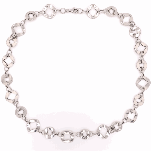 Closeup photo of 14K White Gold Cushion Shaped Flat Open Link Necklace 10.3g, 19.5""