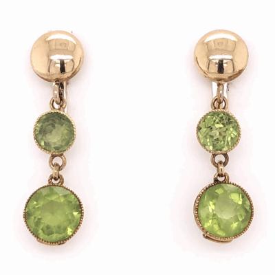 "Closeup photo of 15K & 10K Yellow Gold Victorian 2.5tcw Peridot Drop Earrings 2.95g, 1"" Tall"