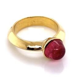 Closeup photo of 18K Yellow Gold 2.25ct Cabochon Rubellite Tourmaline Custom Ring 6.9g