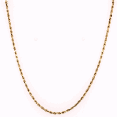 "Closeup photo of 14K Yellow Gold Thin Rope Chain 3.5g, 20"" Long x 1.5mm"