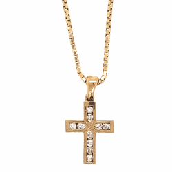 "Closeup photo of 14K Yellow Gold Diamond Cross .75"" Tall, .16tcw on Italian Box Chain Necklace 4.0g, 18"" Long x 1.2mm"
