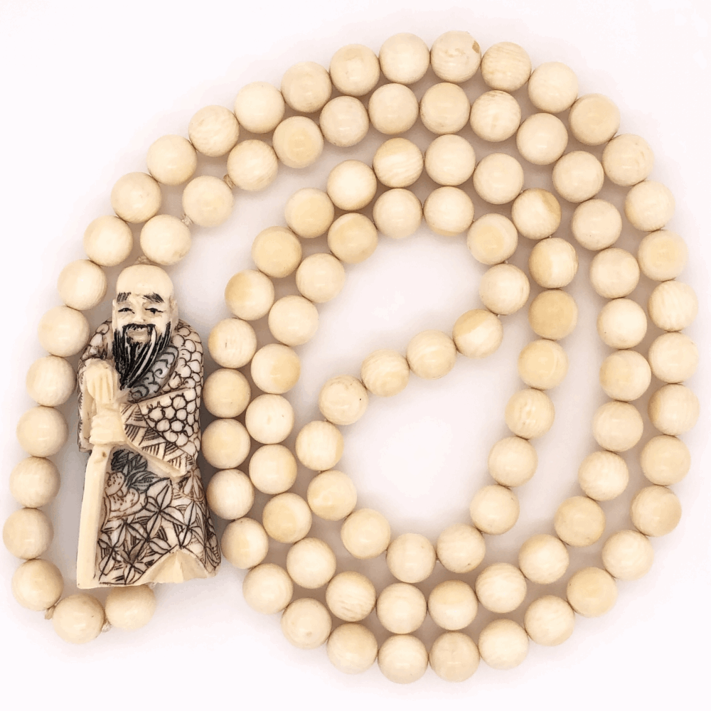 "Natural Chinese Bead & Carved Bone Necklace 56.0g, 32"" Long"