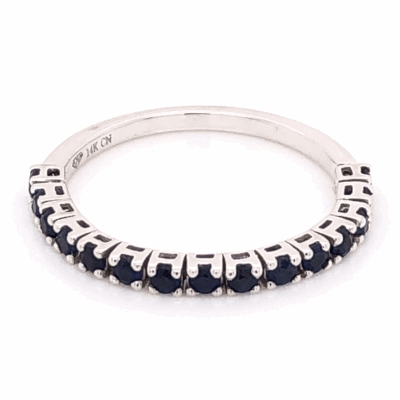 Closeup photo of 14K White Gold Flexible Band With .40tcw Sapphires 1.6g, s6.25